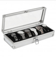 Watch case alluminium watch box Jewelry box Gift for men (6 compartments - metal)