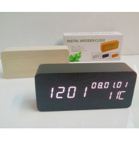 Stylish Wooden Alarm Clock with Thermometer
