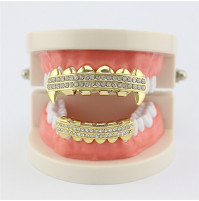 Hip Hop Hollow Open Face Teeth Grillz Caps with Chrystals