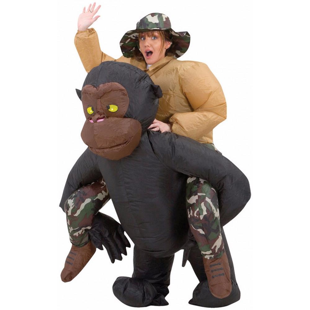 Piepūšamais tērps vecpuišu, vecmeitu vai bērnu ballītēm - aerokostīms Indiana Džonss jāšus uz gorilas