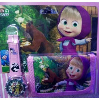 Wallet + watch set Masha and Bear