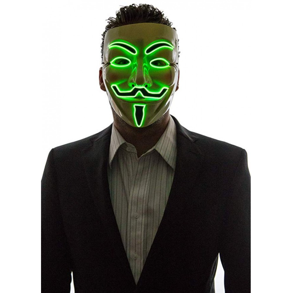 Anonymous Guy Fawkes V for Vendetta karnevāla LED neona maska anonīms