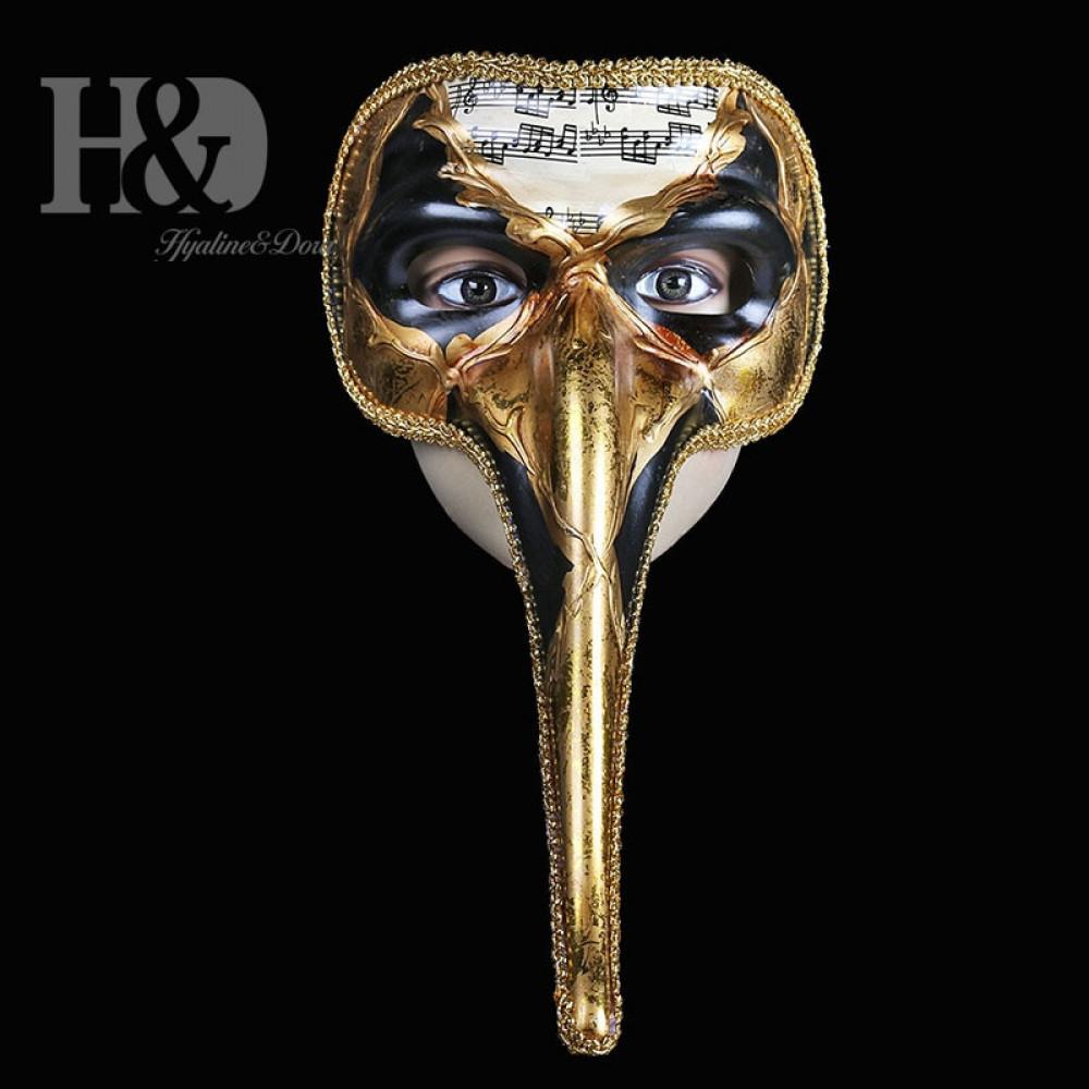 Venecijas karnevāla Āksta maska ar zvaniņiem un garu degunu