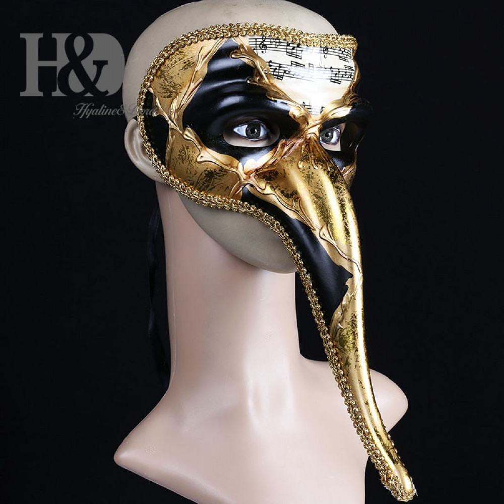 Classical Joker The Fool Venetian Carnival Mask with bells and long nose