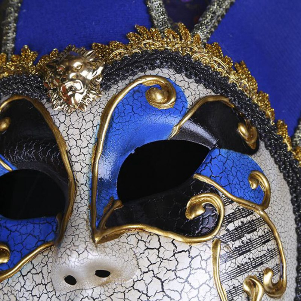 Classical Joker The Fool Venetian Carnival Mask with bells