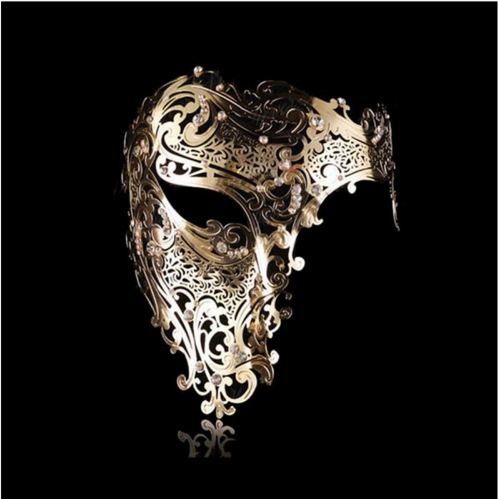Classical delicate openwork metal lace half mask