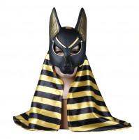 Augstas kvalitātes Eģiptesvilka dieva Anubisa maska ar lakatu