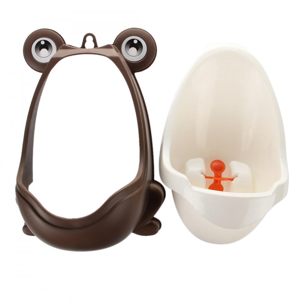 Mini-pisuārs vardes formā ar rotējošu dzirnaviņu mazajām puikam