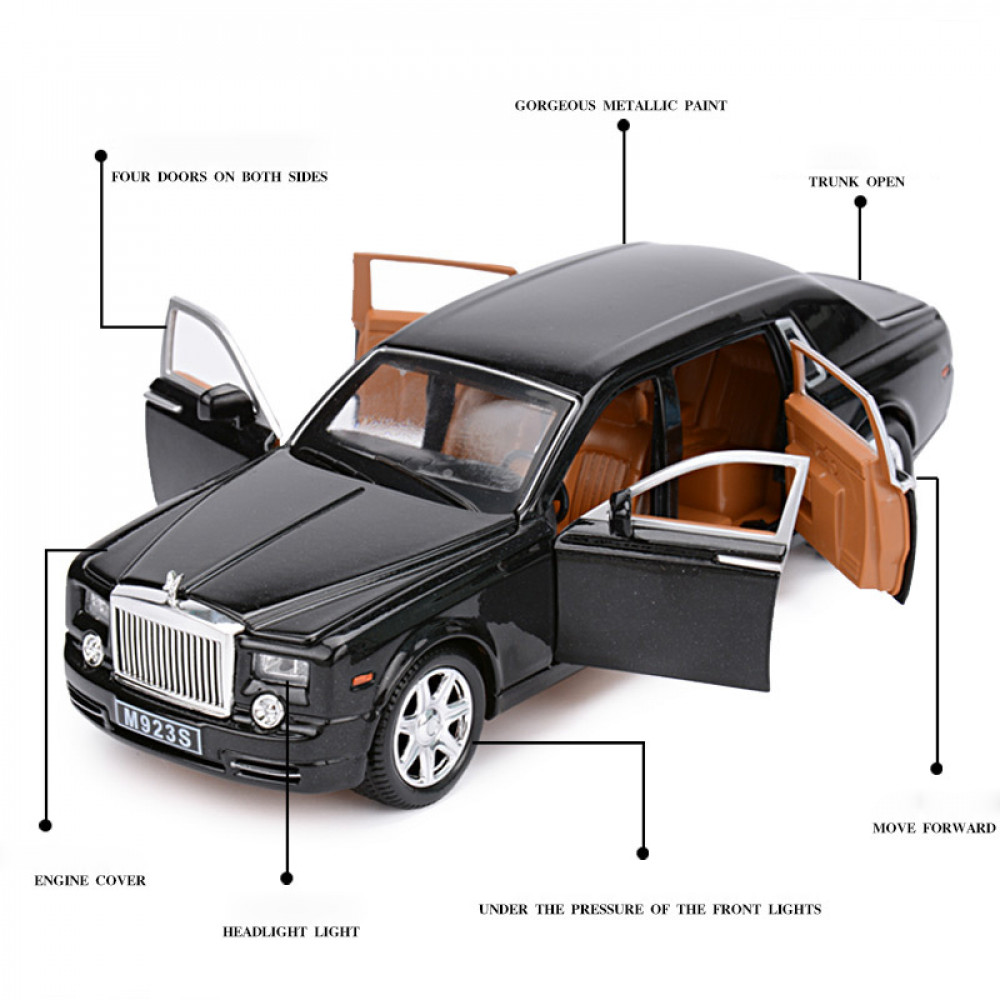 Metall Rolls-Royce Phantom Model Scale 1:24 Lightning and Sounds