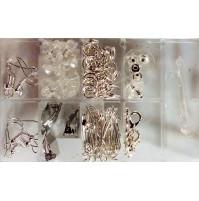 Aksesuāru komplekts rotājumu izgatavošanai - dažādi rotaslietu izejmateriāli aķīši, gredzeni, auklas, furnitūra