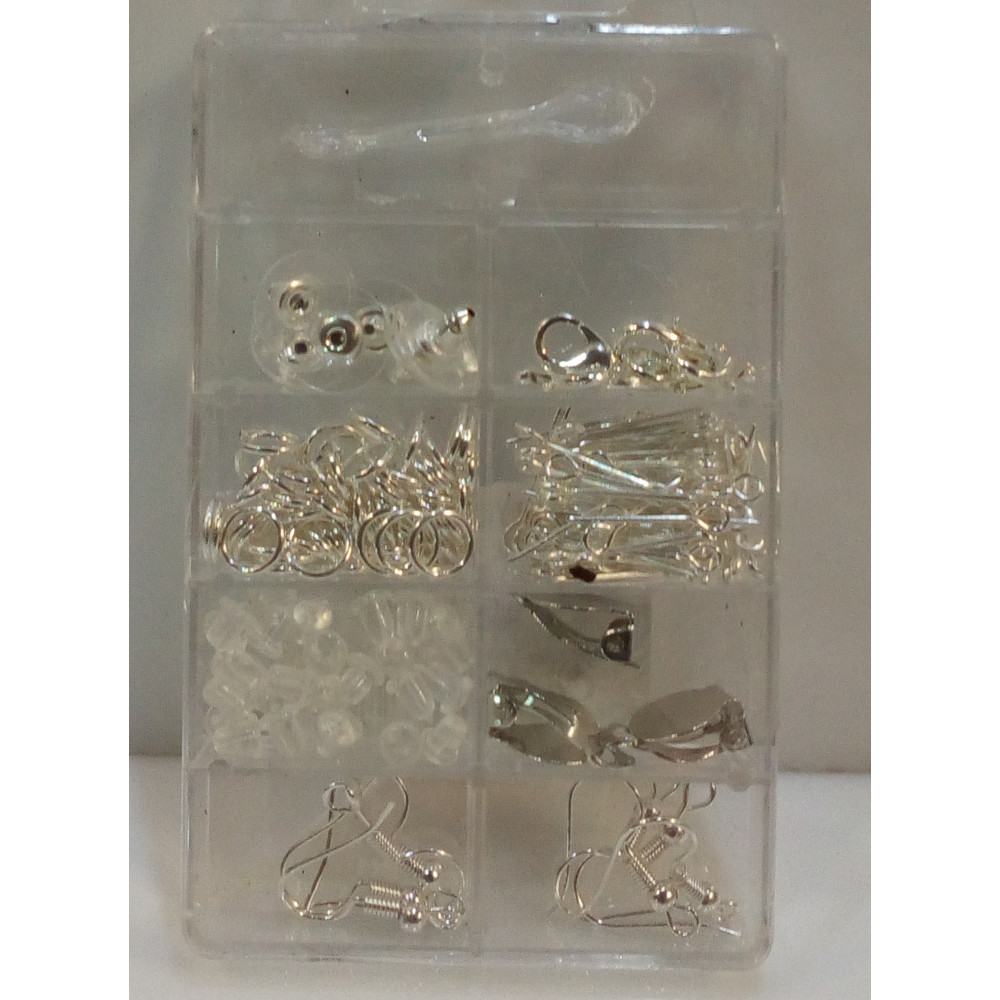 A set of accessories for jewellry - various hooks, rings, line, clips