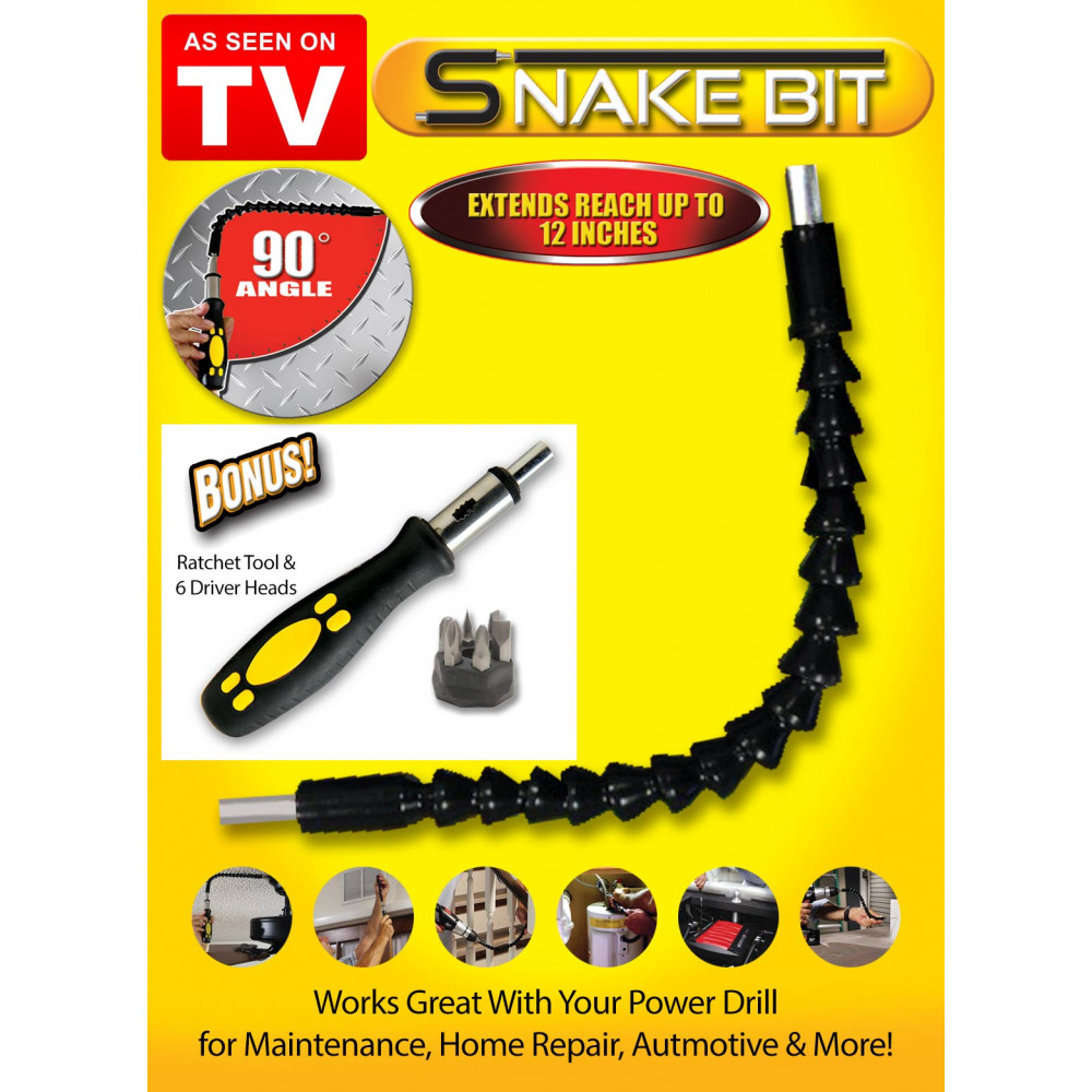 Flexible head - extension for screwdriver or snake bit drill