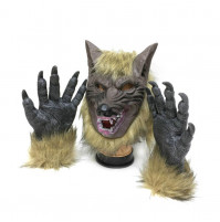 Creepy Full Face Werewolf Latex Mask and Wolf Claws
