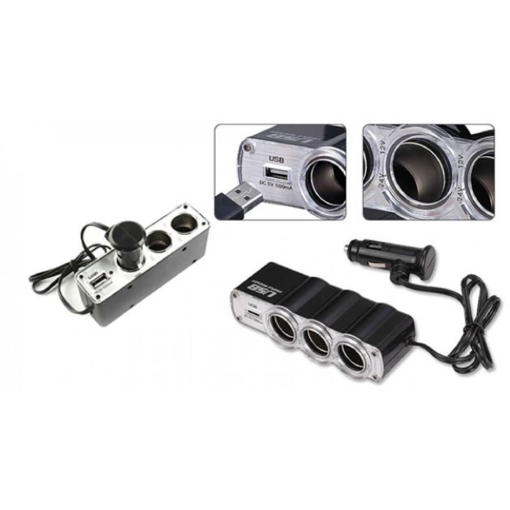 12v / 3x12v, Electric cigarette lighter splitter for 3 sockets and 1 USB input