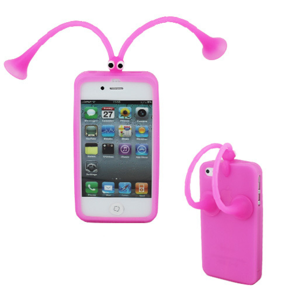 Cases for iPhone 4 or 4S with suction cup antennae