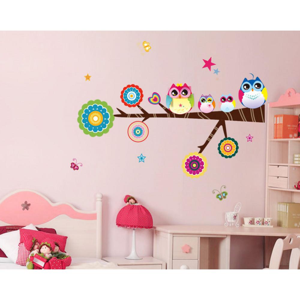 Children room wall sticker decall decor - Owls on branch