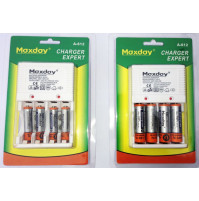 Maxday Charger Expert with 4 x AA 4500mAh or 4 x AAA 4500 mAh batteries
