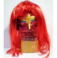 Female wig with straight, bright hair