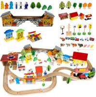 Wooden playset City, toy railroad, 89 elements