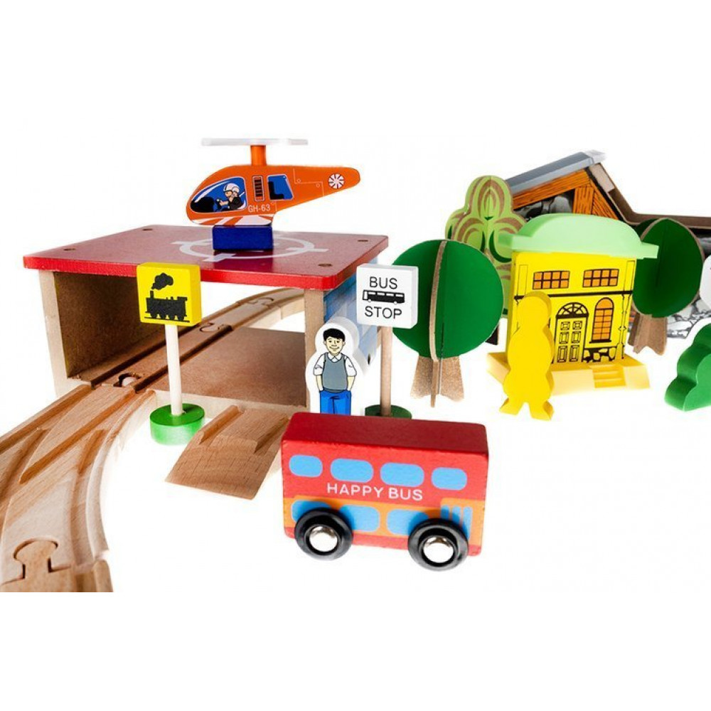 Wooden Railroad Kit - City, Bridge, Helicopter, Railroad, Traffic Signs, Station, 89 Elements