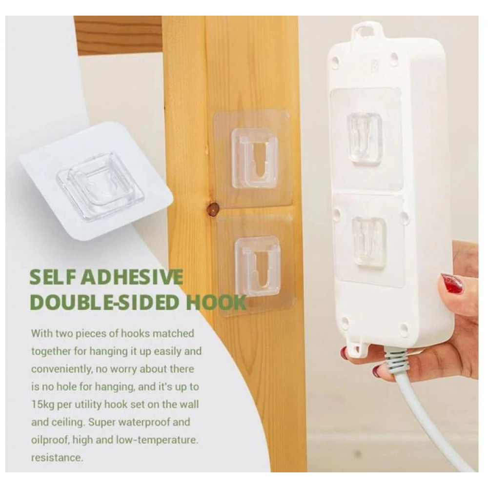 Double-sided wall-mounted self-adhesive transparent hook without drilling, for hanging objects up to 15 kg - paintings, photographs, garlands, extension cords