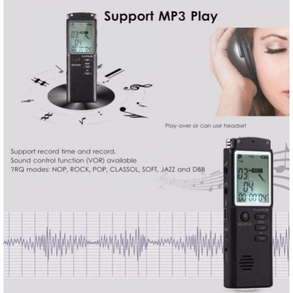 Portable voice recorder with 32 GB built-in memory battery