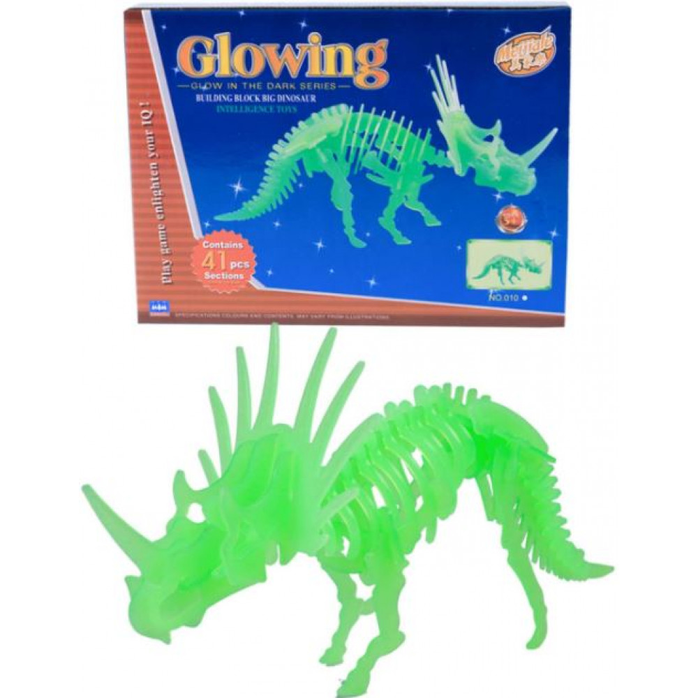 Educational children's glowing 3D constructor Glowing Dinosaur or Crocodile
