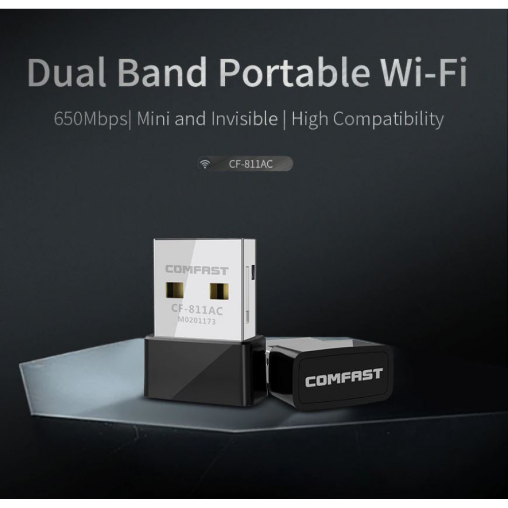 USB WiFi network adapter for connecting a computer, TV, laptop to a wireless Internet network 650 Mbps 2.4G & 5G