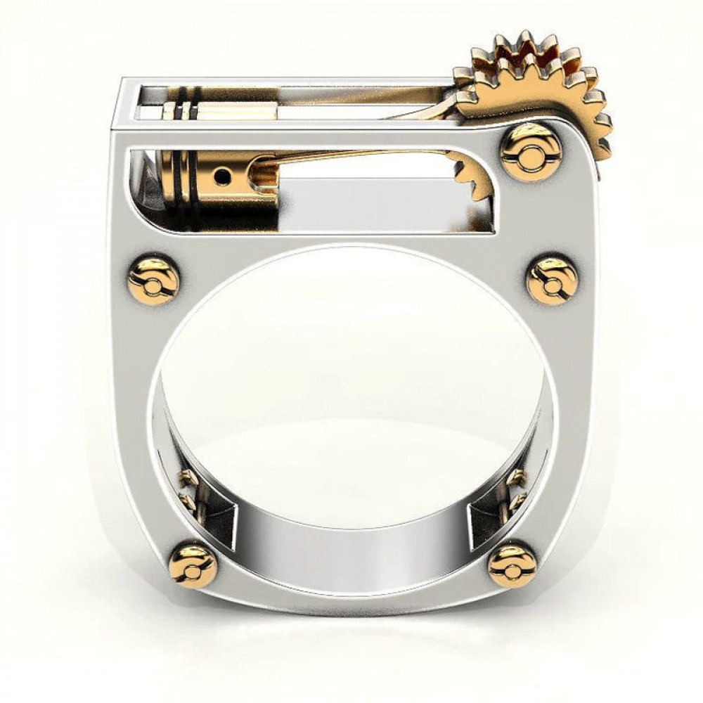 A gift to a man - mechanics, a ring with a working model of the engine