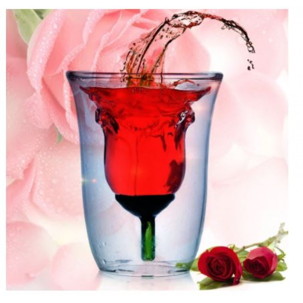 Gift for your beloved, creative glass in the shape of a rose with double walls