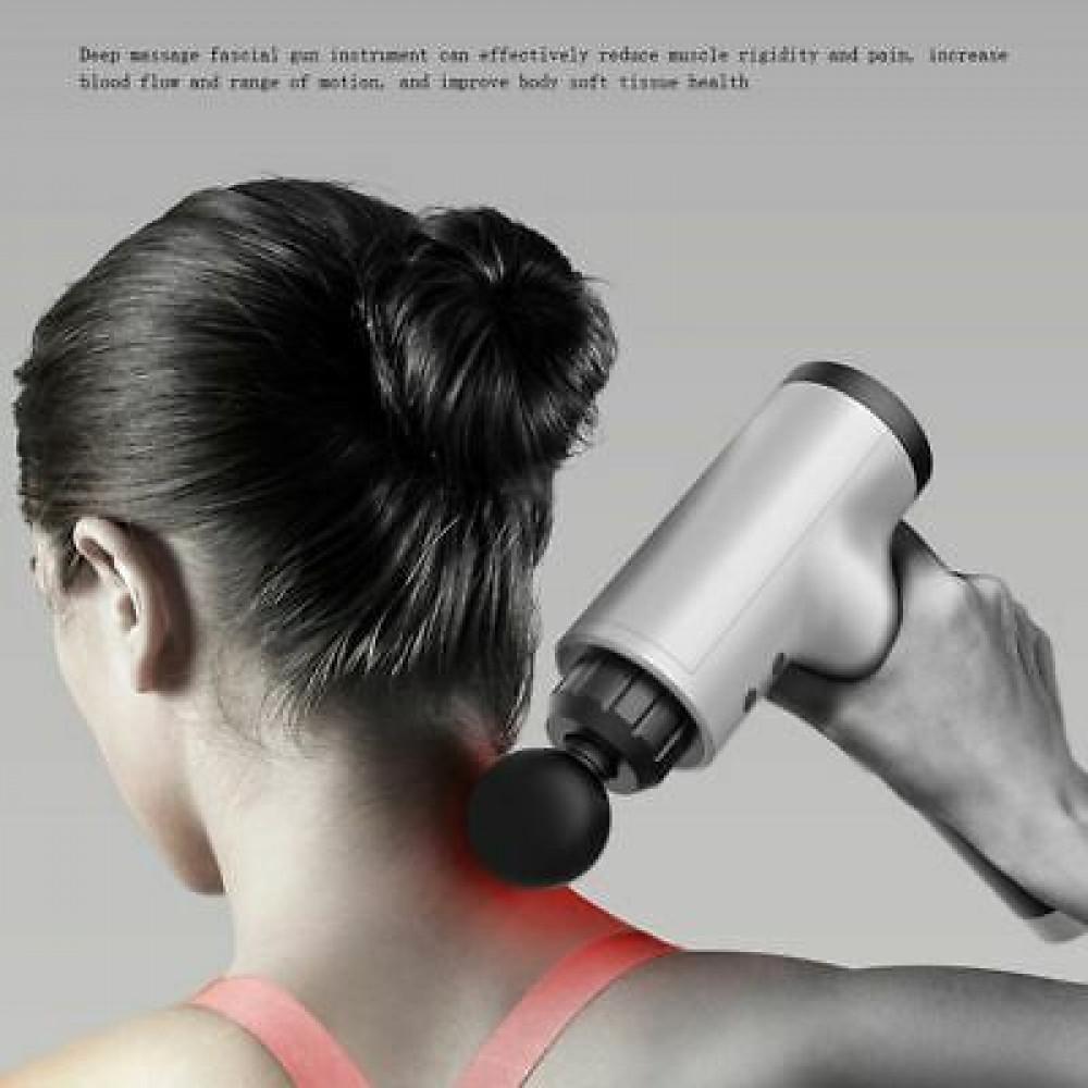 Fascial Gun Wireless Percussion Massage Gun with 4 Interchangeable Nozzles