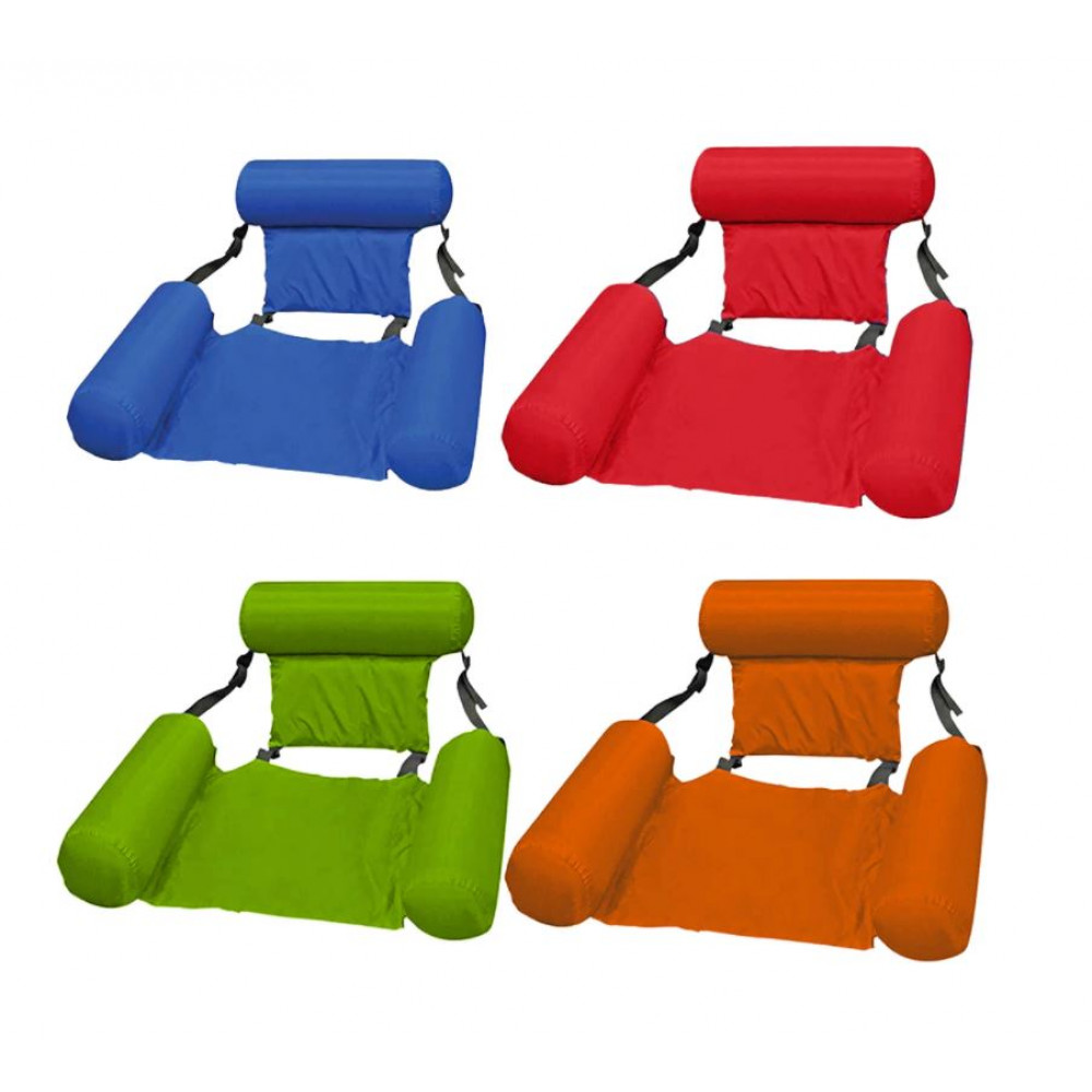 Inflatable swimming chair with back and armrests, for the pool, the sea
