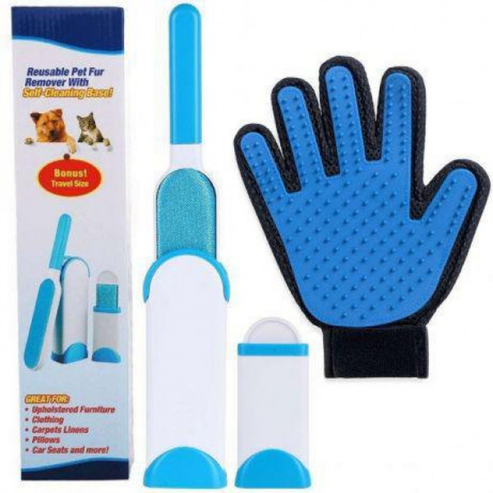 A set of useful things for dogs, the perfect gift for pet owners - Self-cleaning brush, travel brush and glove to remove animal hair from any surface Fur Wizard