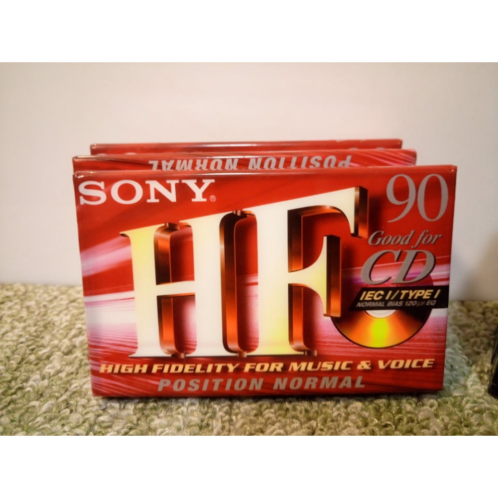Blank audio cassette in packaging for recording sound Sony HF or EMTEC CS II
