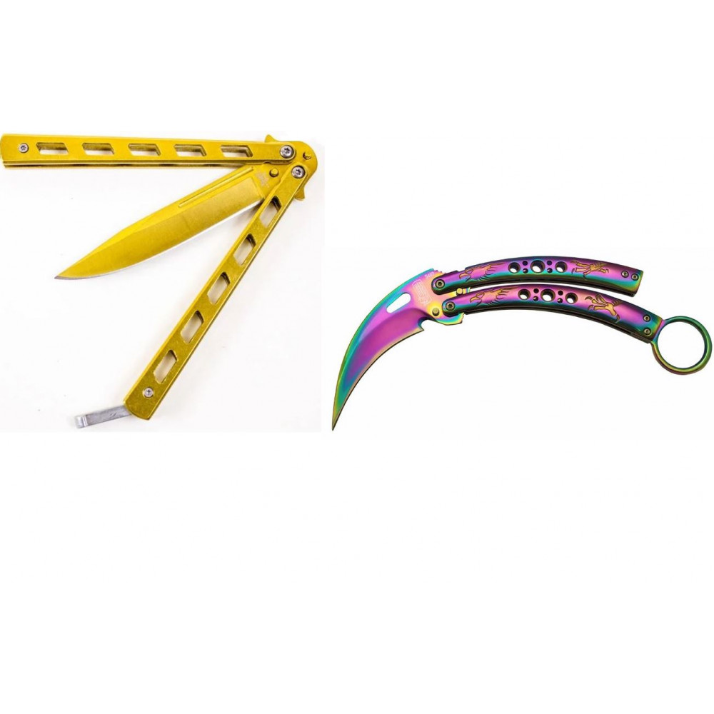 Large knife butterfly balisong - karambit or golden balisong