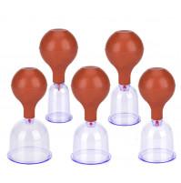 Brown Rubber Vacuum Cans 5pcs Massage Suction Cup Kit