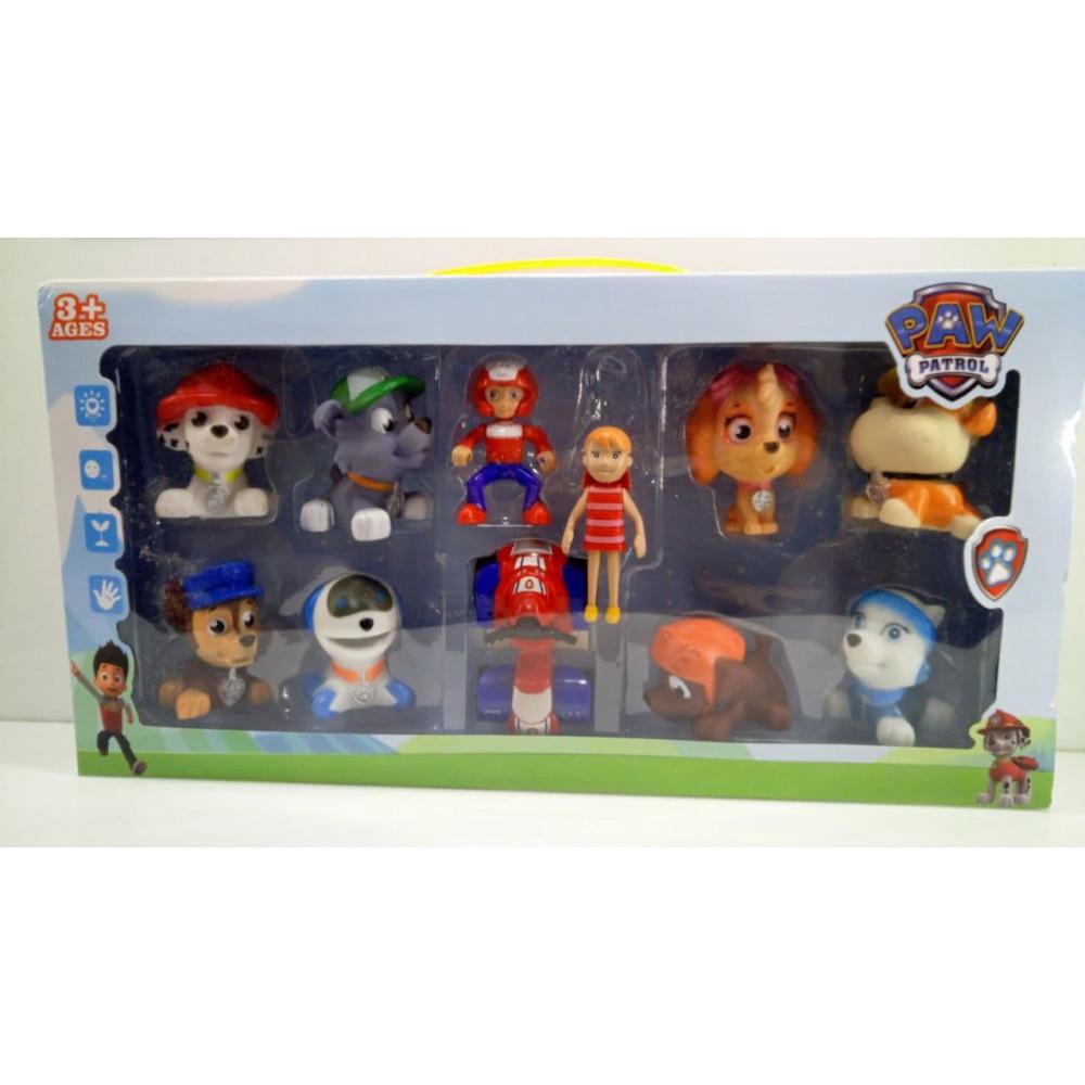Large playset of action figuresPaw Patrol - Marshal's mask, Zack Ryder, Chase, Skye, Strong, Rocky, Zuma, Everest, Robopog