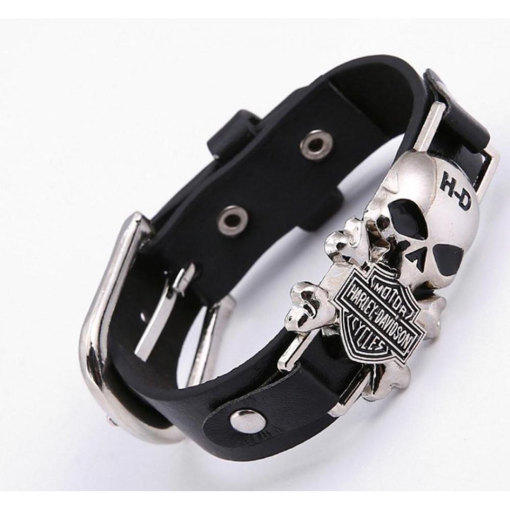 Stylish vintage leather bracelet with chrome skull Harley Davidson for bikers, brutal gift to man