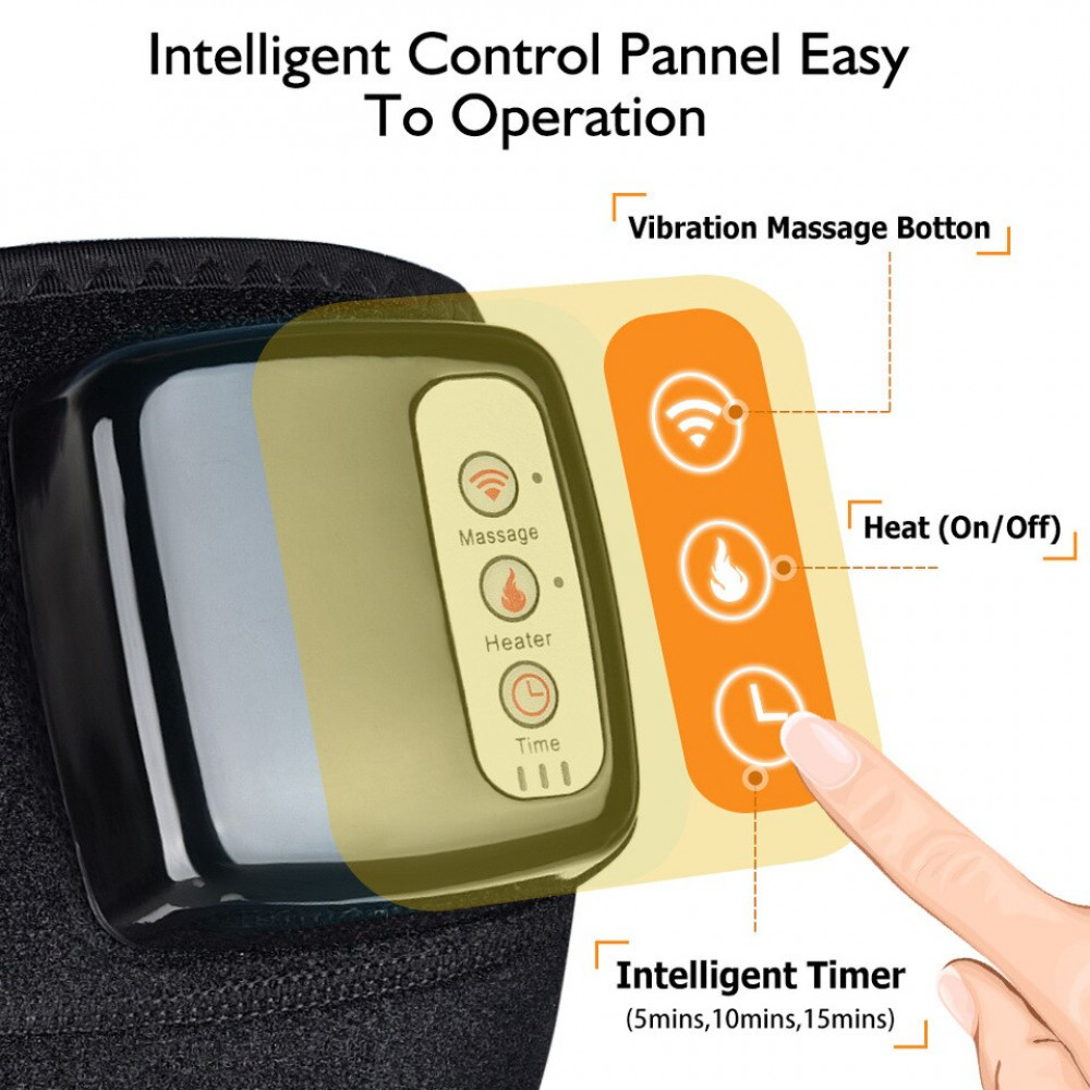 Vibrating heating knee / elbow pad to relieve swelling and warm joints