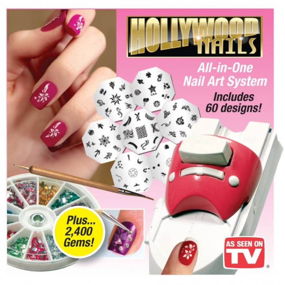Stamping set for a perfect manicure - nail stamp printer, with rhinestones, stickers, different designs HollyWood Nails