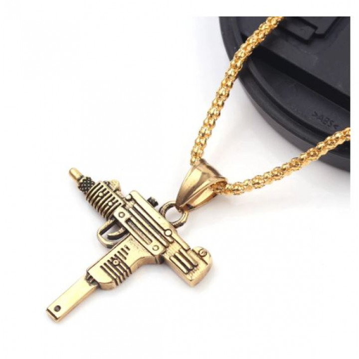 A present for a real rapper and hip-hopper - a pendant on a chain in the form of a golded UZI gun