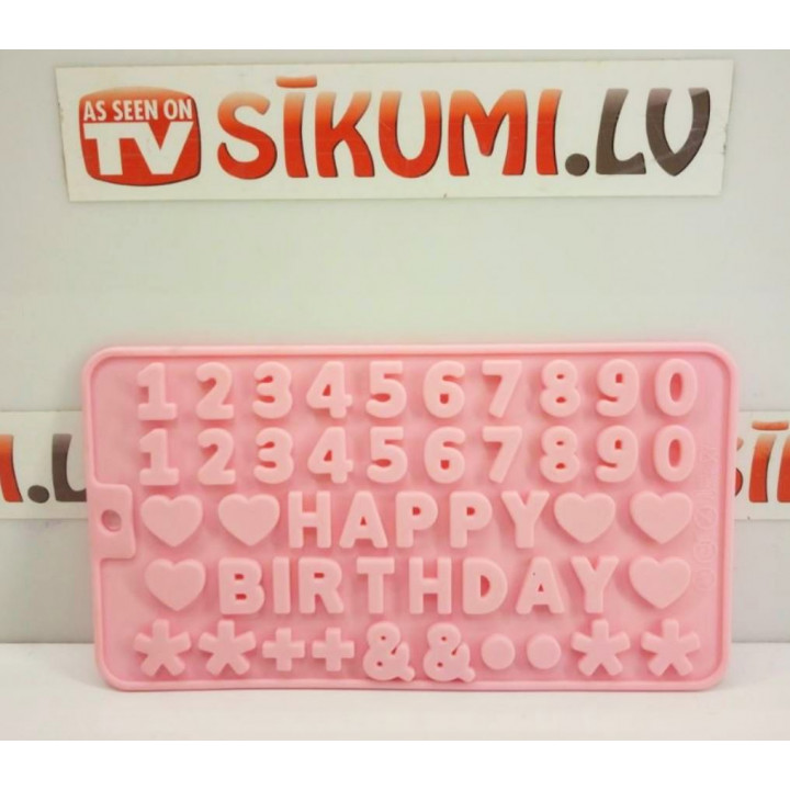 Silicone heat-resistant mold for cookies, chocolate, candies, in the form of wishes Happy Birthday