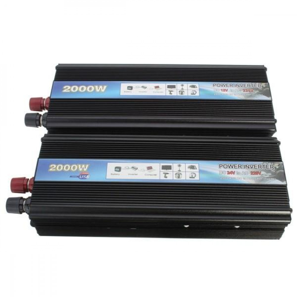 24V to 220V, 2000W current converter, an ordinary socket in your car, suitable for cars and trucks, allows you to connect any electrical device in the car, Pure Sine