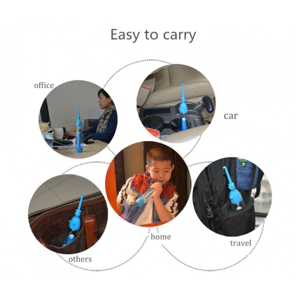 Portable cordless manual irrigator for oral care, rinsing teeth, braces, hard-to-reach areas Easy Clean