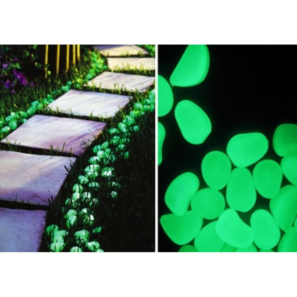 Glow in the dark luminescent stones for landscaping, garden, home, decor