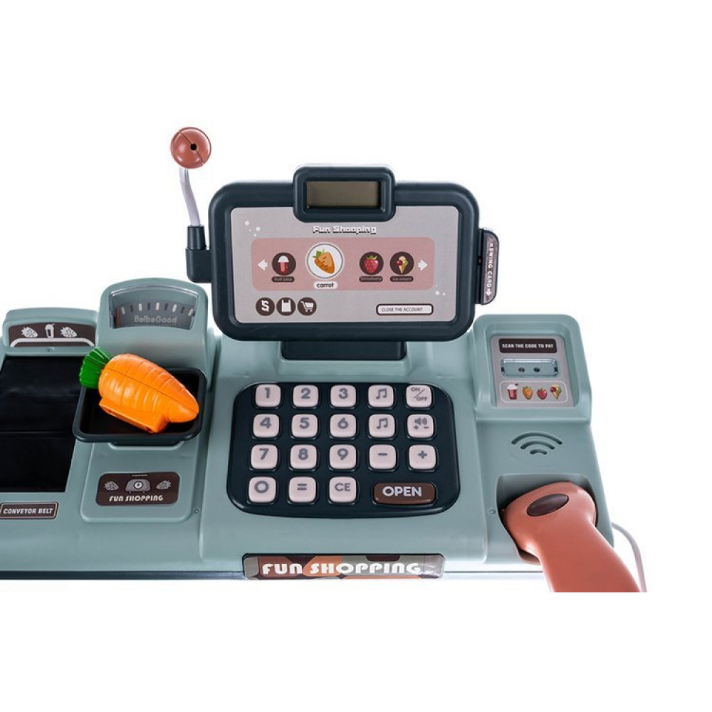 Shop Play Kit - Cash register with a scanner, food set, toy money, and shopping basket