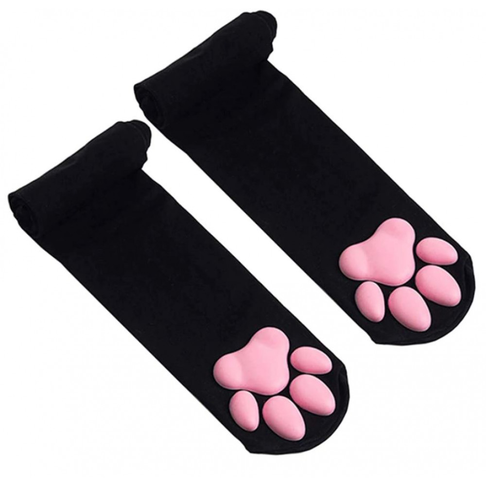 Quality Lovely Womens One Size Long 3D Stockings with Silicone Cat Foot