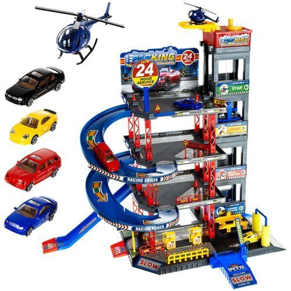Educational toy multilevel car parking with lift, car wash, 4 cars, and a helicopter