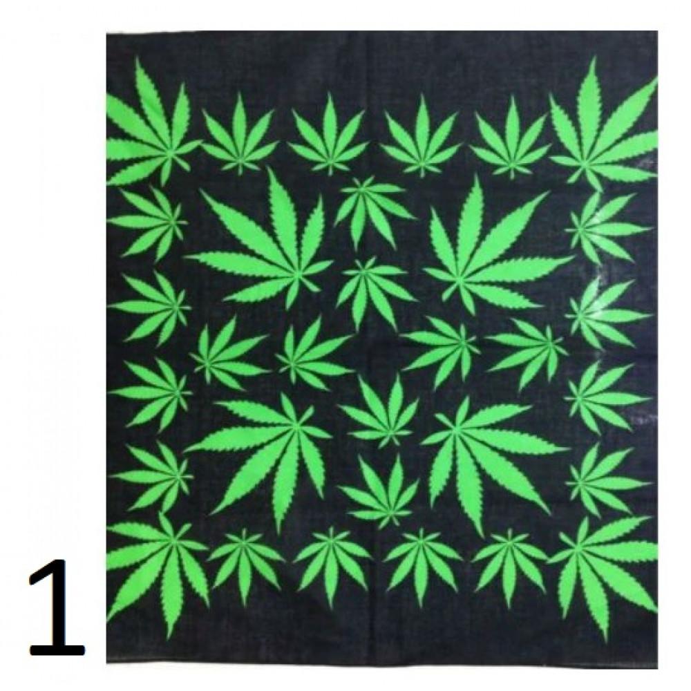 Cotton bandana - a scarf with a pattern of hemp, herbs, marijuana legalize - the best gift for a rastaman