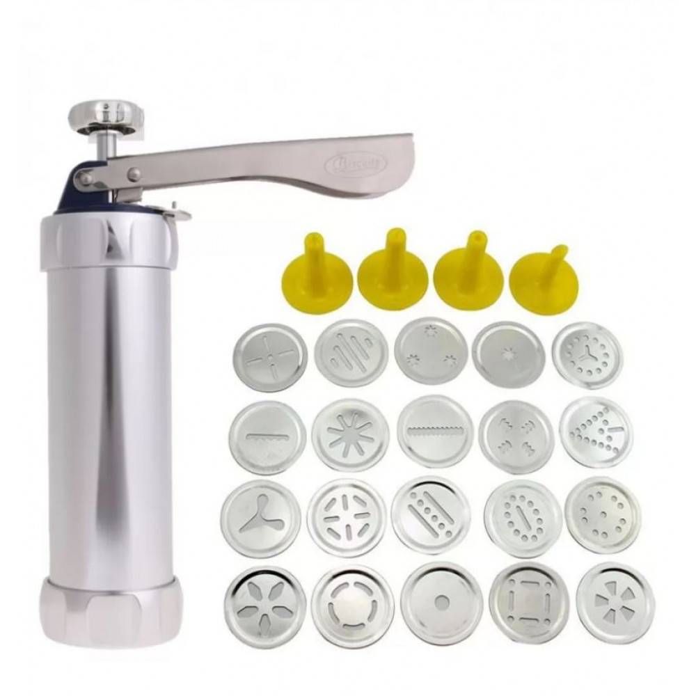 Pastry syringe press, gun extruder with 14 nozzles for cream, dough, cookie baking, baking decoration
